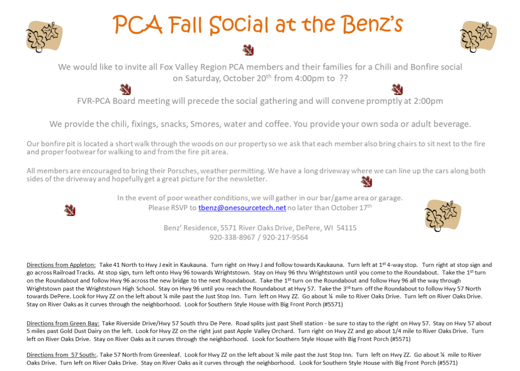 Chili and Bonfire Fall Social at the Benz's @ Casa Benz | De Pere | Wisconsin | United States